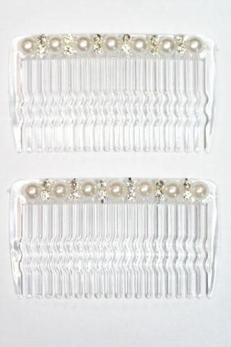 Haarkam 3 Kleine parels wit (foto is creme) € 2.00 per stuk